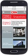 Smartphone with example of CRN Snapshot mobile display ad